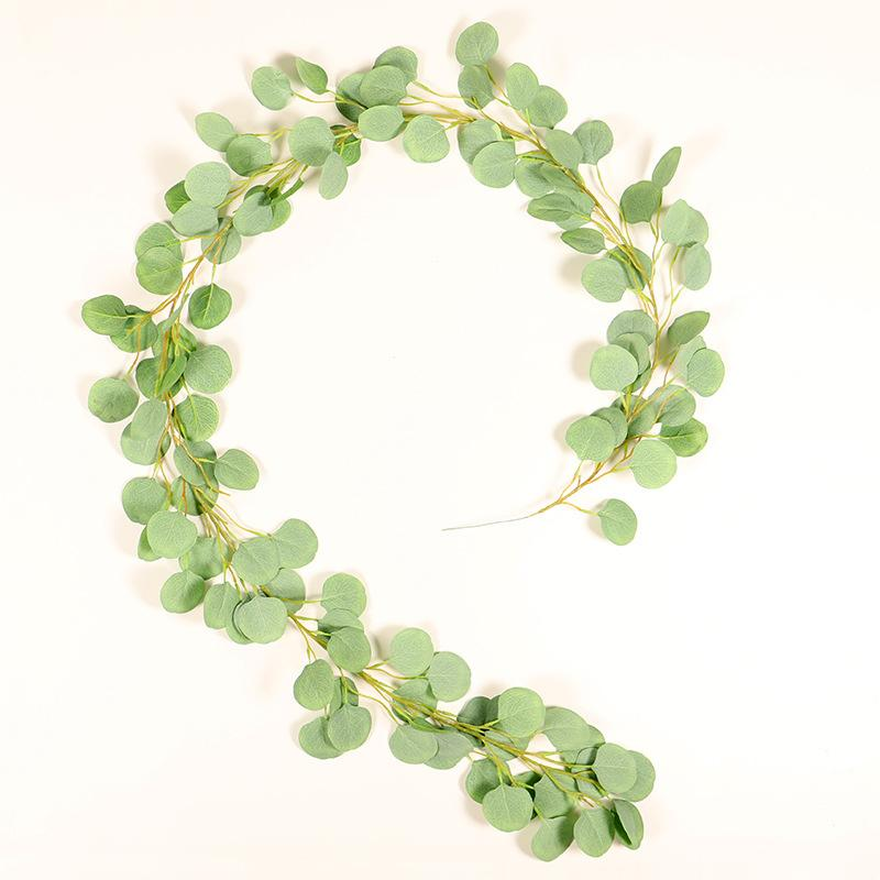 1m Artificial Rattan Hanging Eucalyptus Vine Wall Cloth Fencing Fake Wreath Wedding Decoration Simulation Wicker Leaves Vine