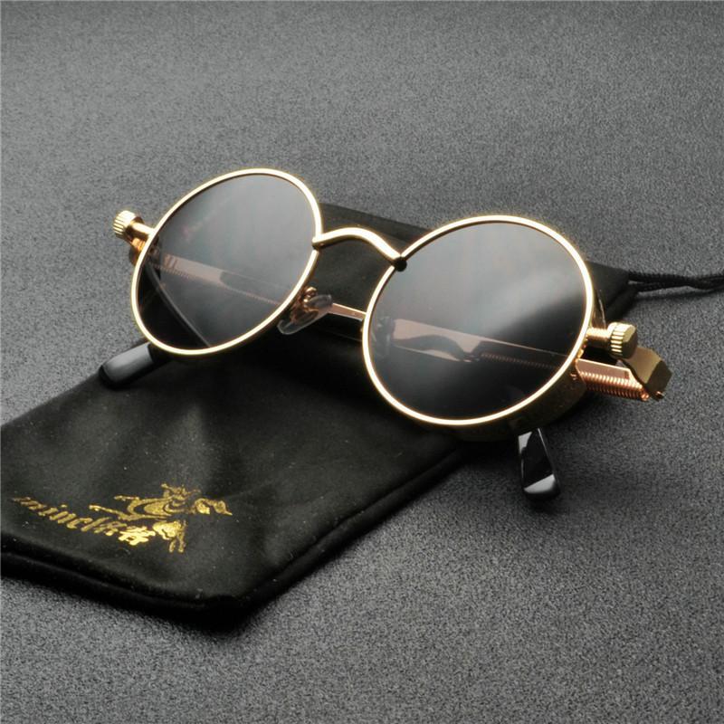 d4af7ba40e0d New Unique Cool Vintage Round Sunglasses Trending Future Style Gold Black  Frame Small Men Women Frame Punk Sun Glasses FML Super Sunglasses Victoria  Beckham ...