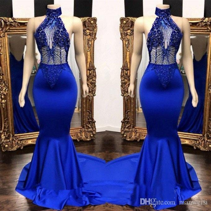 Stunning Royal Blue Mermaid Prom Dresses 2019 Lace Beading Evening Gowns  Illusion High Neck Formal Dresses Custom Made Beautiful Gowns Blush Prom  Dresses ... 8ac41cb5dc84