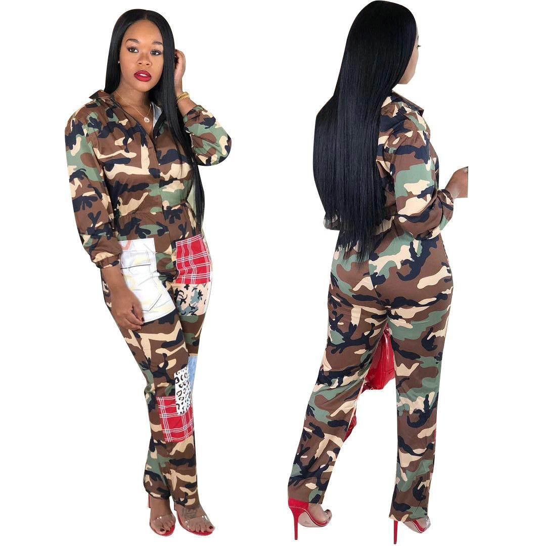 df9750808760 2019 Casual Camouflage Printed Women Jumpsuit Long Sleeve Fashion ...