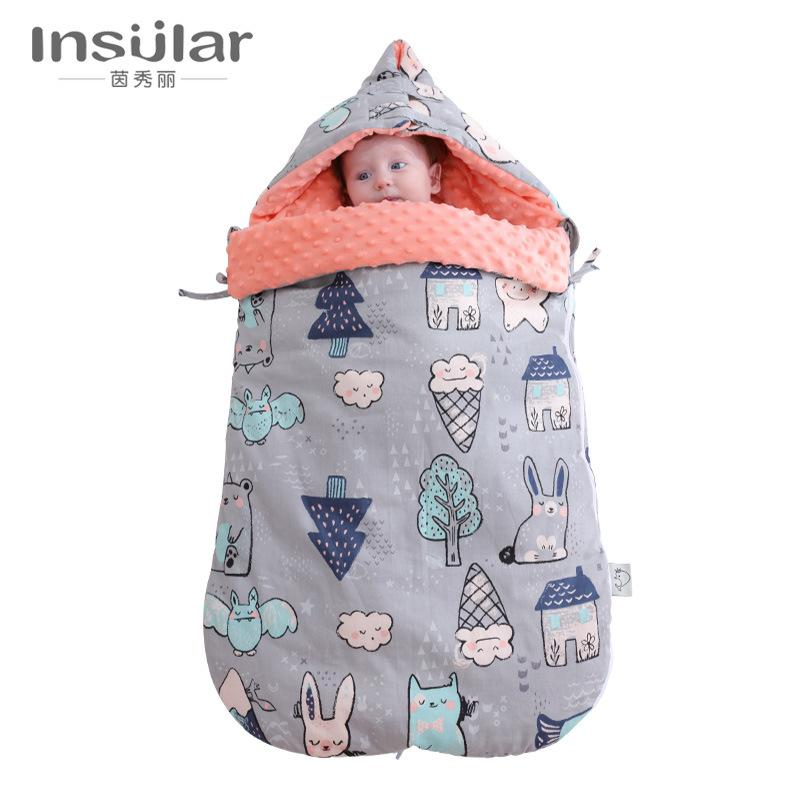detailed look c33c4 50adb Baby Pure Cotton Shock-proof Jump In Autumn and Winter Thickening Dual-use  Newborn Baby Holding Doudou Blanket Sleeping Bag