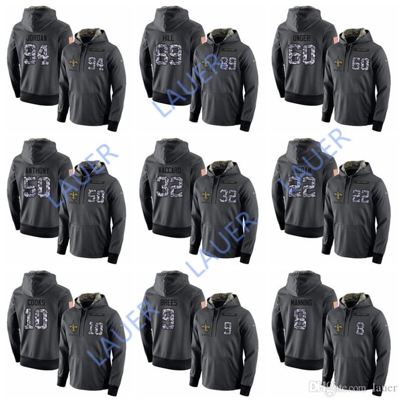 new product 99dcc 543ba Men Saints Any Custom Nmae Number Black Anthracite Salute to Service Player  Performance Hoodie
