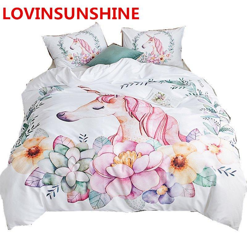 Princess Unicorn Bedding Set Girls Cartoon Duvet Cover Set Flowers