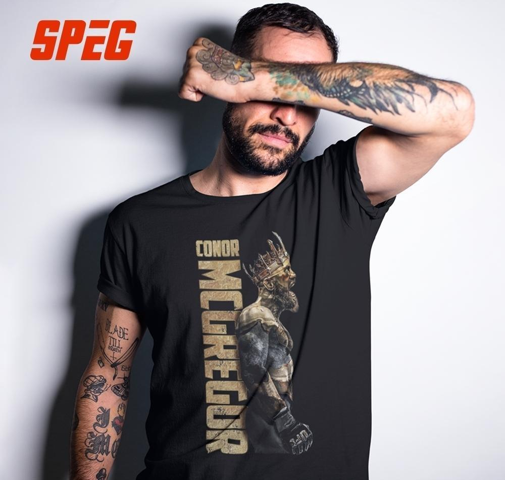 Speg The King Of Conor Mcgregor Mma Notorious T Shirt Men Short Sleeve Tops 100% Cortton Tee O Neck Clothes Male Vintage T-shirt Y19060601