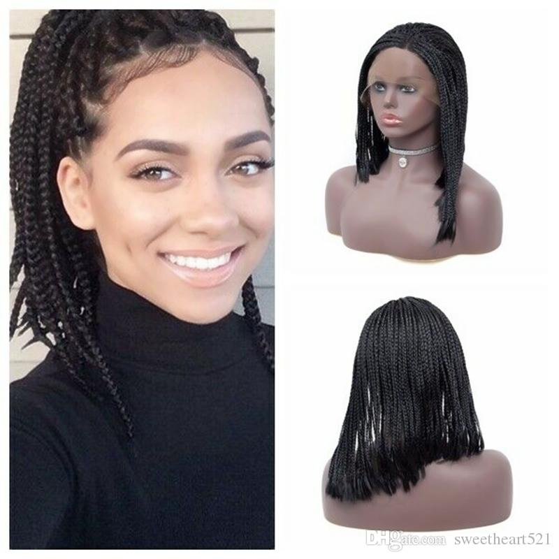 High Quality 16inch Braided Box Braids Wig with Baby Hair Black/Brown/Blonde Color Free Part Synthetic Front Lace Wigs for Black Woman
