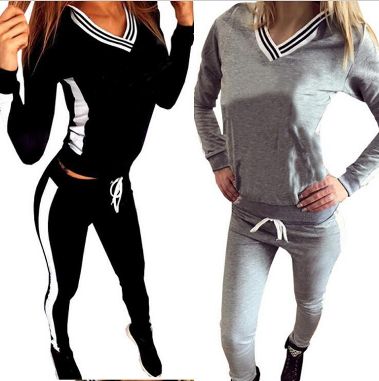 Clairance de 60% moins cher france pas cher vente 2019 Brand Tracksuit Women Sport Suit Hoodie Sweatshirt+Pant Jogging Femme  Marque Survetement Sportswear 2pc Set