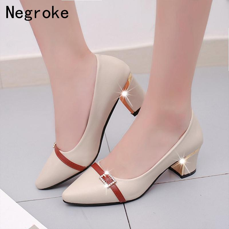 a32ad225168 Dress Shoes Cute High Heels Women Pumps Block Thick Heel Pu Leather Office Ladies  Working Dress Shallow Boat Woman Pumps Mens Shoes Loafers From Deals8