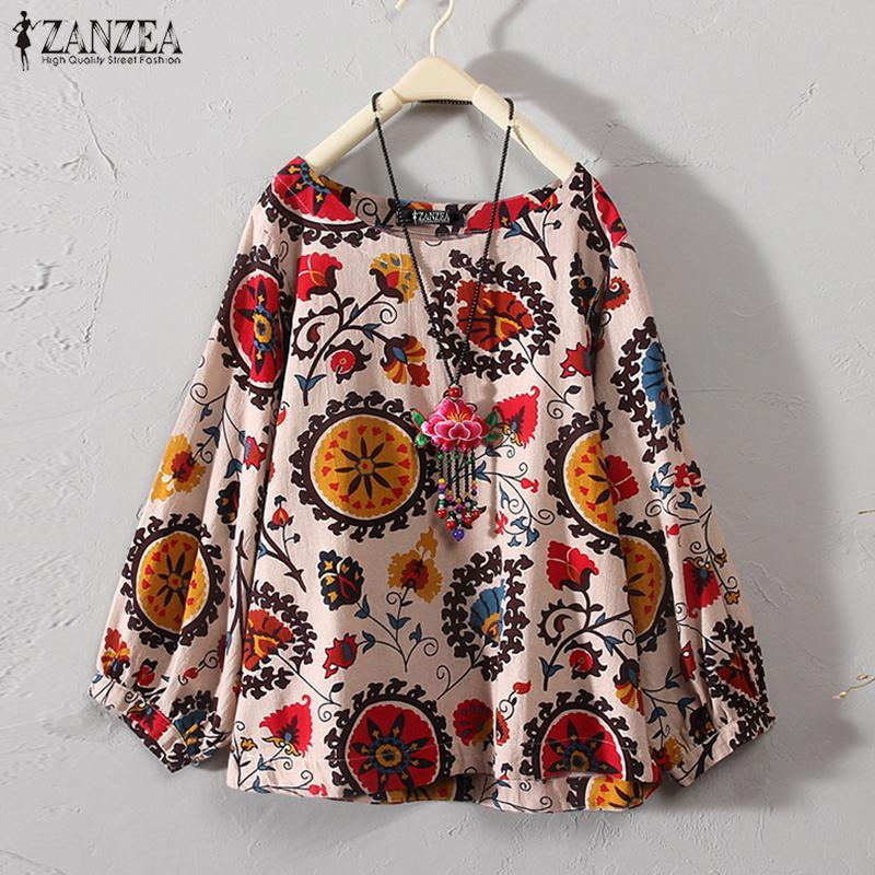 cabdf7f6be 2019 ZANZEA Autumn Linen Blouse Plus Size Women Floral Printed Shirt ...