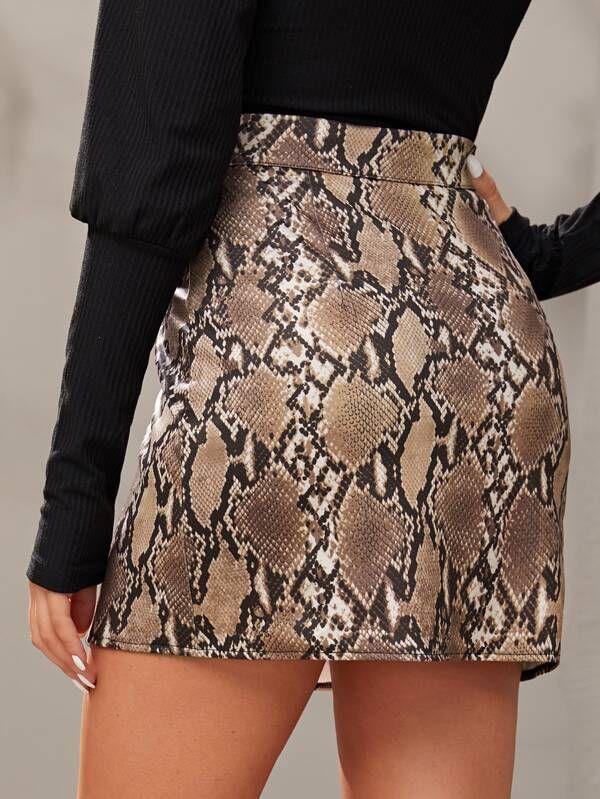 Mulheres Sexy Serpentine Mini Saias Moda Outono Inverno fecha acima lápis saias de cintura alta Mini pele de serpente Impresso Bodycon Saias
