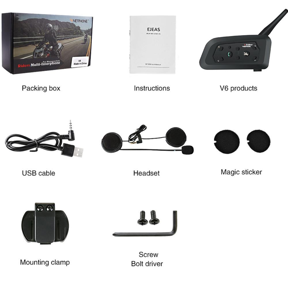 Casco inalámbrico Intercom V6 1200M Motocicleta Auriculares Bluetooth Interphone para 6 jinetes Intercomunicador Moto Intercom GPS MP3