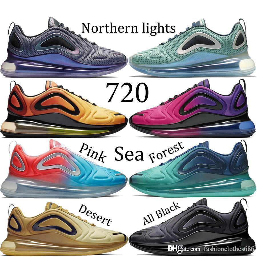 nike air max 720 zapatos casuales Northern Lights Night hombres mujer Sea Forest Sunset Triple negro Sunrise Zapatillas de deporte para hombre TPU