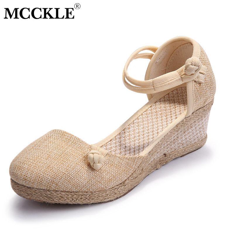 8923a296 Compre Zapatos De Vestir Cuñas De Mcckle Para Mujer Bombas Bordadas De Lino  Sandalias Con Cuña De Lona De Lino Correa De Tobillo De Verano Med Zapato  De ...