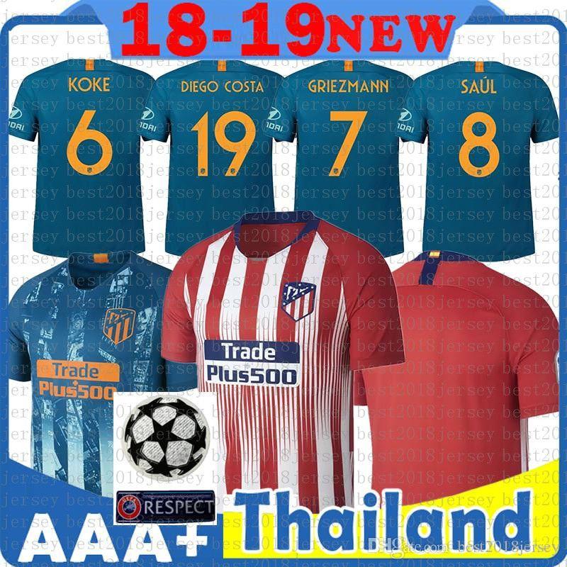 a7d1e2d30 2019 Custom 19 Madrid Atletico Soccer Jersey GRIEZMANN Correa Lucas Costa  Koke Saul Godin Luis Gimenez 2019 Kids Kits Women Men Football Shirt From  ...