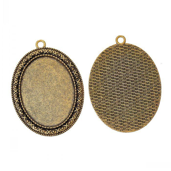 Jewelry Findings Charm Pendants Oval Gold Tone Cabochon Setting(Fit 4cm x 3cm)Nickel Free 5.5cm x 4cm,10PCs