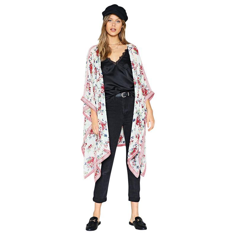 70134b899bf9 Compre 2019 Nuevas Mujeres Chiffon Kimono Cardigan Estampado Floral  Hendidura Lateral Prendas De Abrigo Sueltas Ropa De Playa Tallas Grandes  Robe De Plage ...