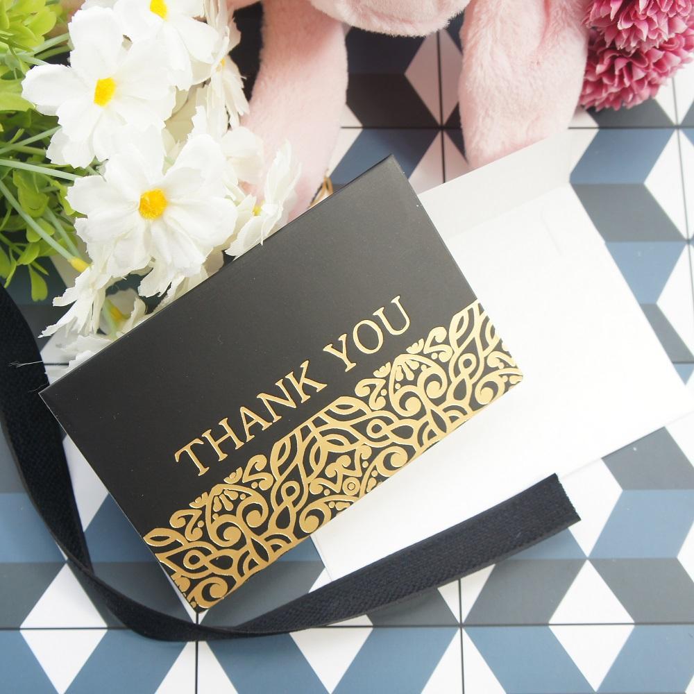 Or 25pcs Noir Buissons Merci Plier Carte Avec Enveloppe Carte De Voeux Invitation De Fête D Anniversaire De Mariage Diy Décor Cadeau