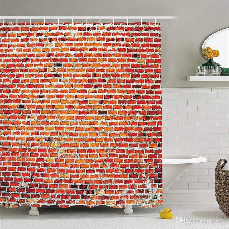 Rustic Home Decor Shower Curtain, Brick Wall with Decorative Bricks Grunge Style Rampart Pattern, Fabric Bathroom Decor Set with Hooks