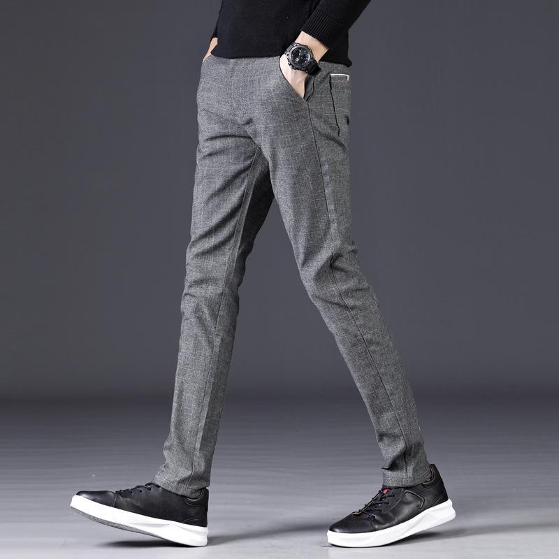 9cae460a904 Autumn Winter Men Casual Pants Cotton Business Fashion Slim Sanding ...