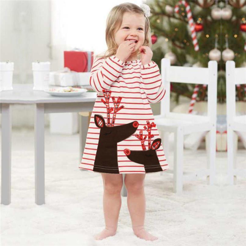 c8a757d4b0 Compre Ropa De Navidad Ropa De Niña Ropa De Manga Larga Vestido De Niño  Pequeño Bebé Niños Niñas Ciervo Impreso Fiesta De Rayas Vestido De Princesa  S12 ...