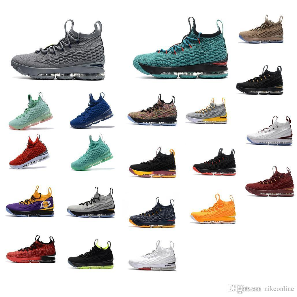 5e48bce8aa8 2019 Cheap Lebron 15 Basketball Shoes For Sale Purple Yellow Black New Mens  Lebrons Sneakers Tennis With Box From Nikeonline