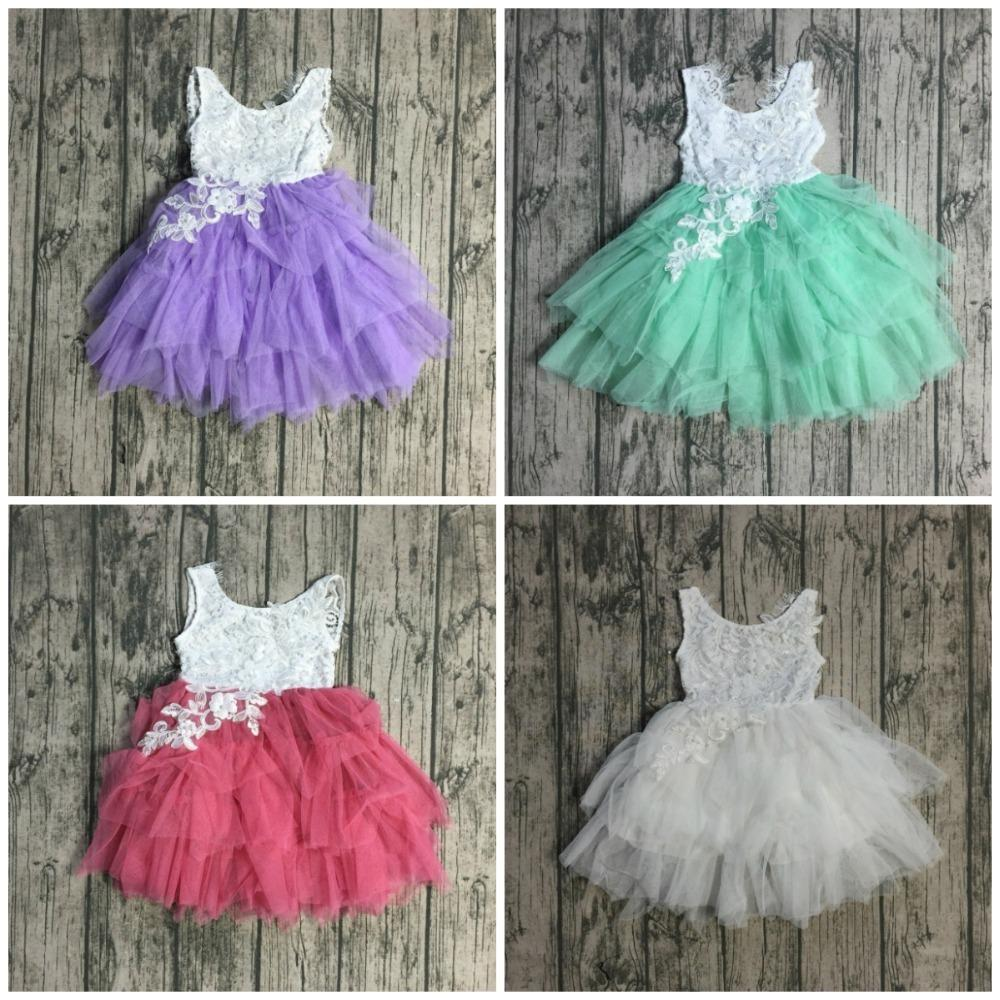 New Radiant Pink Wine White Gorgeous Mint Lavender Tulle Dress Tutu Kids Wear Baby Girls Boutique Children Clothes Sleeveless Y190518