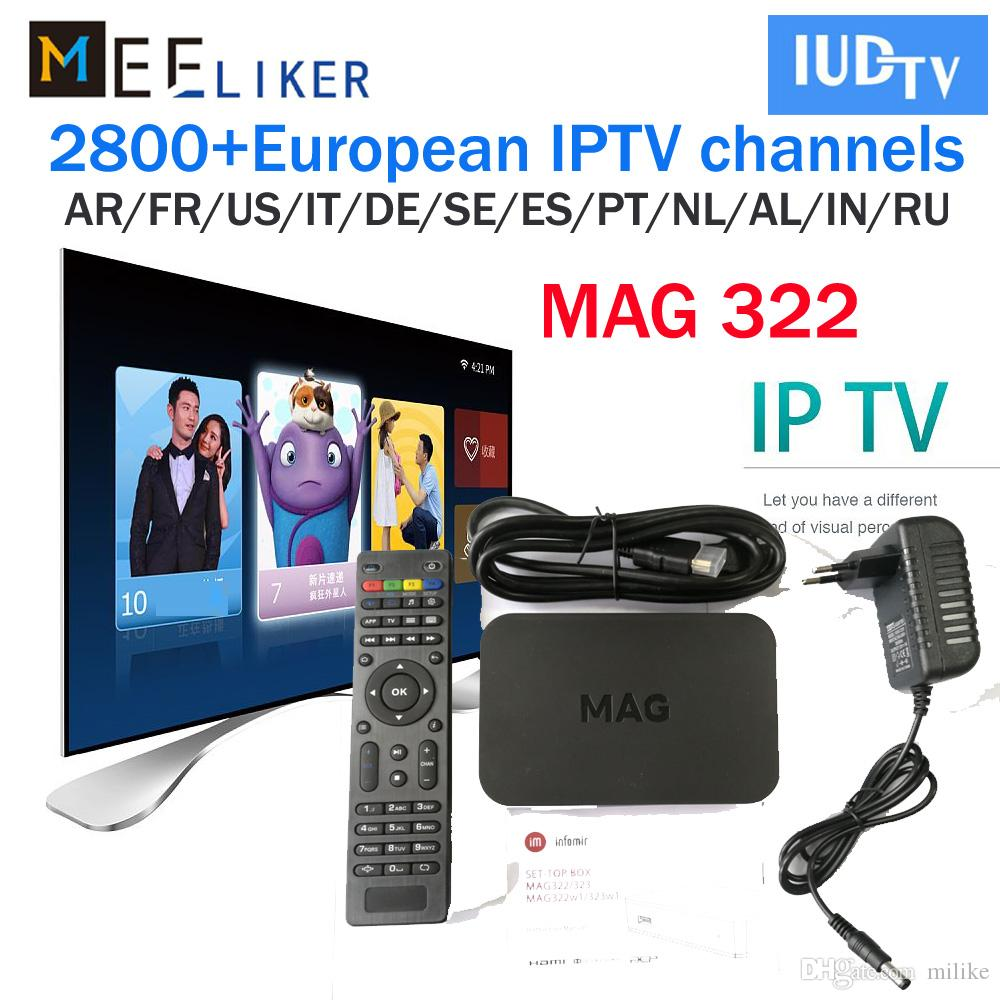 Mag 322 with 1year IPTV Subscription iudtv For Smart TV Abonnement IPTV  Support 30 Countries Live TV Channels Europe Arabic Sports Linux