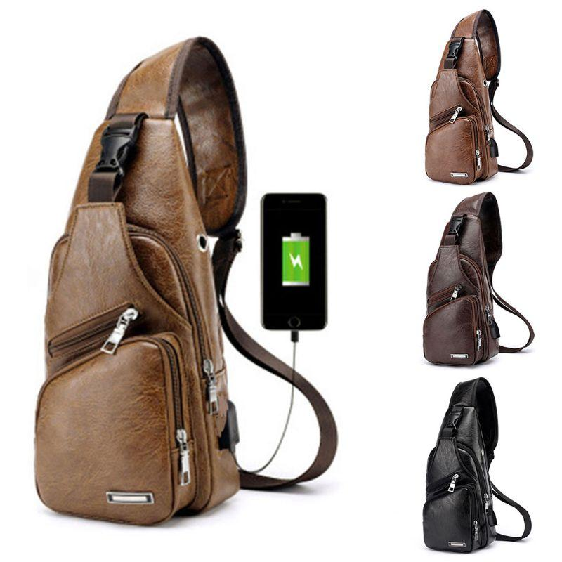 Men Chest Bag USB Charging Port Earphone Hole Messenger Sling Sport Travel  Crossbody Shoulder Pack Handbags For Women Brahmin Handbags From Ballballu ae8a6fa6f3f28