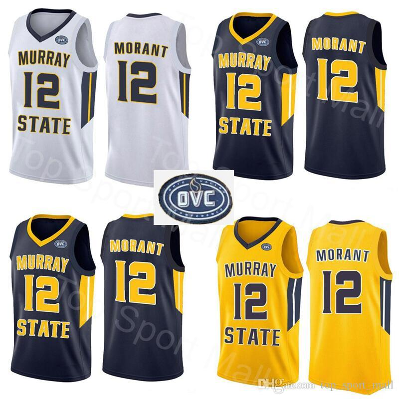 newest a249b a13c4 NCAA Murray State Racers 12 Ja Morant Jersey Temetrius Jamel College  Basketball Wears University Shirt Yellow Blue White OVC Ohio Valley