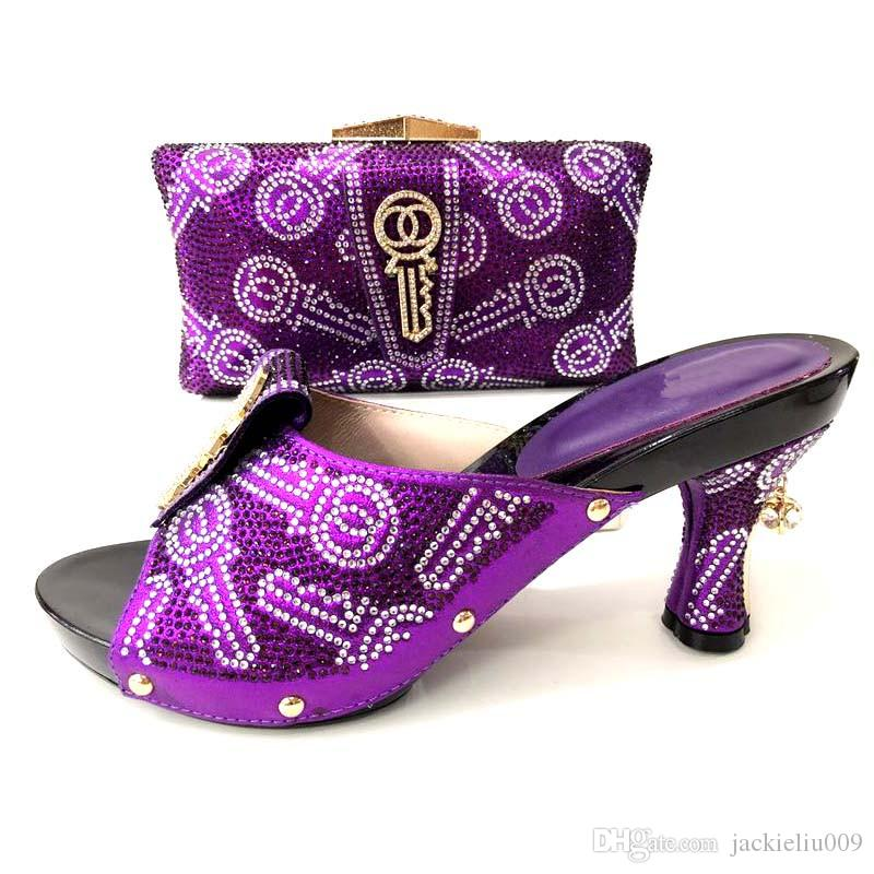 Wonderful purple women pumps and bag with rhinestone key style decoration african shoes match handbag set V6636-9,heel 9CM