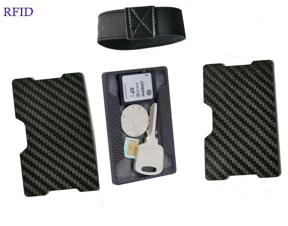 0c168d9462d7 T-11 Carbon Fiber Holder minimalist Slim Wallet with key coin sim card  pocket B RFID wallet