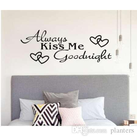 always kiss me goodnight home decor wall sticker pvc wallpaper decal