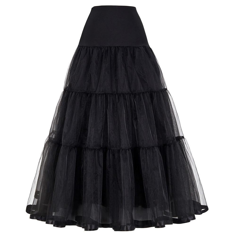 d44bafd7d Mujeres Negro Rojo Retro Falda Para La Boda Moda Vintage Faldas Largas  Underskirt Crinoline Vestido de Bola Imperio Voile Tul Enagua Y19041901