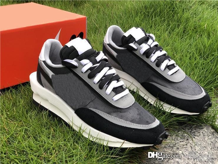 2019 Authentic Sacai x LDV Waffle LDWaffle Daybreak Black White Men Women Running Shoes Pine Green Wolf Grey BV0073-100 With Box 5-12