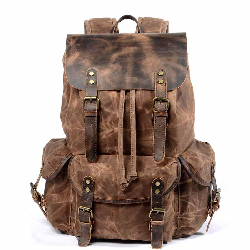b100045ae ... new retro wax canvas leather men backpack purse water proof male  bagpack casual school bags high ...