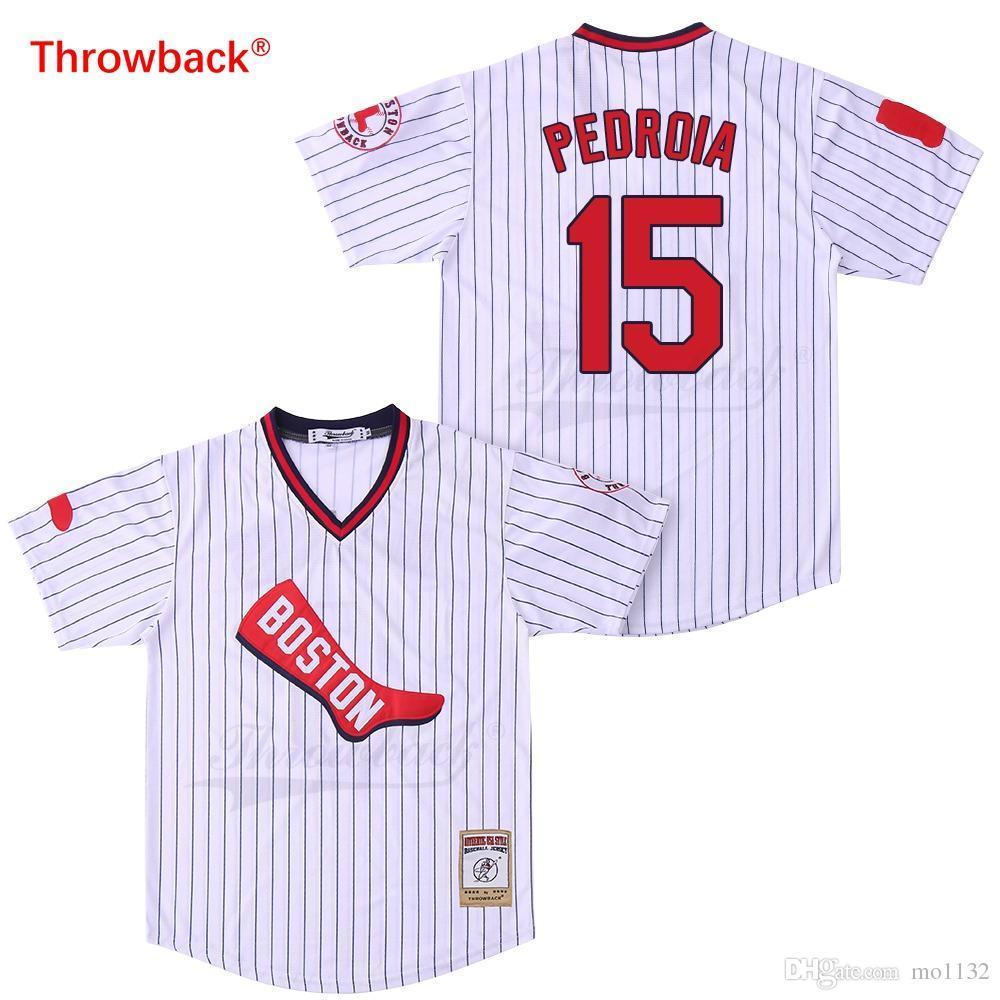 pretty nice c33c1 a8f4b Throwback Jersey Men s Boston Pedroia Jerseys Baseball Jersey Shirt Stiched  Cheap Size S-XXXL Free Shipping 2019021828