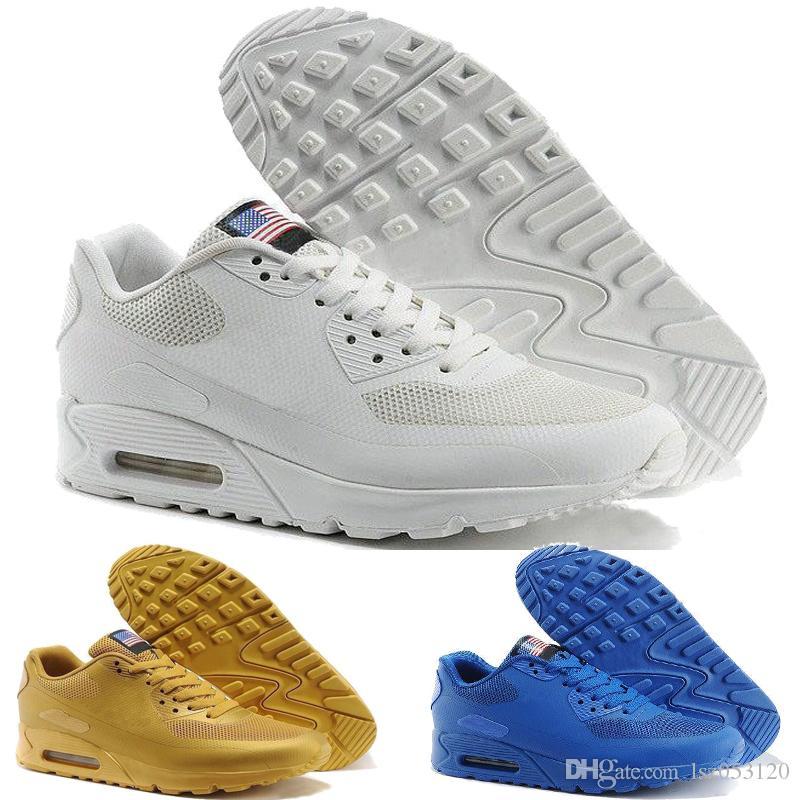 outlet store e4a3d 184a5 Compre 2018 Chaussures Hommes Nike AIR MAX 90 HYP PRM QS Venta De Zapatos  Informales En Línea Moda Día De La Independencia De Zapatillas USA Flag  Zapatos ...