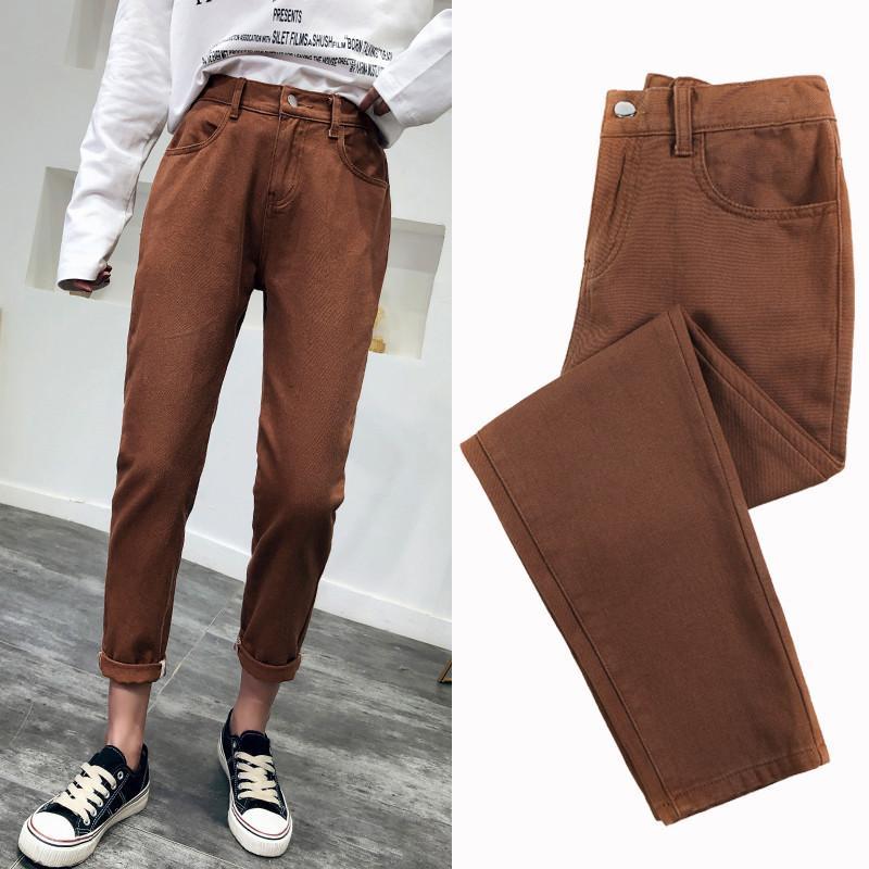 e38a135cacd8 Acheter Nijiuding 2019 Printemps Automne Jeans Femmes À La Mode Taille  Haute Lâche Denim Jeans Femme Sarouel Pantalon Pantalon Jeans Pour Les  Femmes De ...