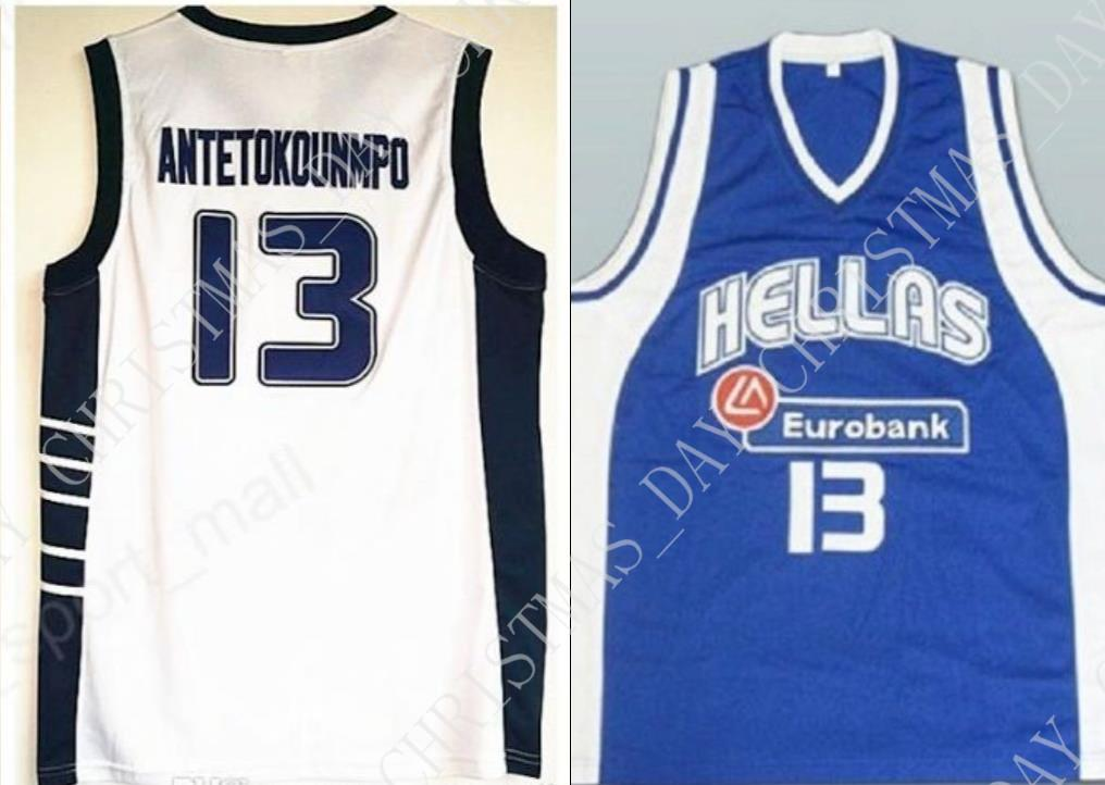 dc458ae14e5 2019 Cheap Custom Giannis Antetokounmpo  13 Hellas Greece Basketball Jersey  White Blue Stitched Customize Any Name Number MEN WOMEN YOUTH JERSEY From  ...