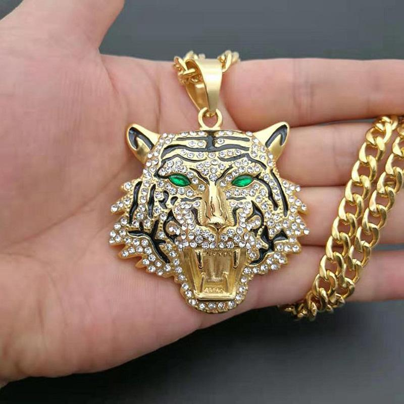 Hip Hop Rhinestones Paved Bling Iced Out GoldStainless Steel Big Tiger Pendants Necklace for Men Rapper Jewelry with cuban chain