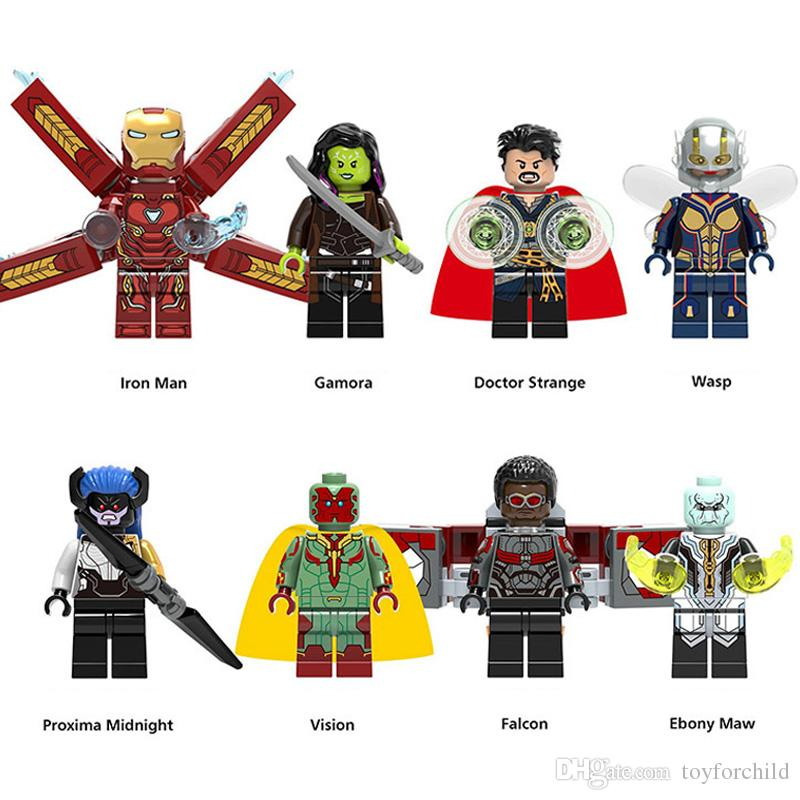 Super Hero Avengers Infinity War Gamora Iron Man Doctor Strange Wasp Vision Proxima Midnight Falcon Ebony Maw Mini Toy Figure Building Block