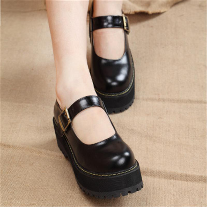 New 2019 Women Creepers Pu Women Flats Platform JK Mary Jane Ankle Strap Student Ladies Loafers Shoes dropship CJ191219