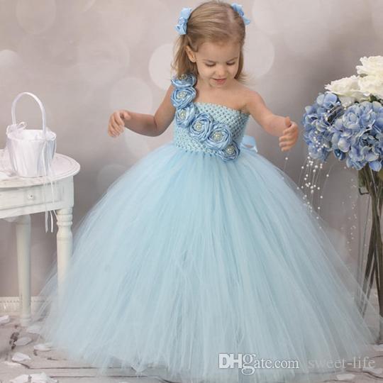 96976546949e 2019 Long Princess Vintage Light Blue One Shoulder Tulle Flower Girl ...