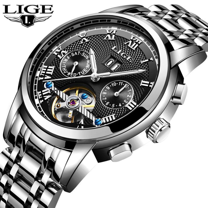 6362609d552 Compre LIGE Mens Relógios Top Marca De Luxo Dos Homens Relógio Mecânico  Automático Dos Homens De Negócios De Moda À Prova D  Água Relógio Relogio  Masculino ...