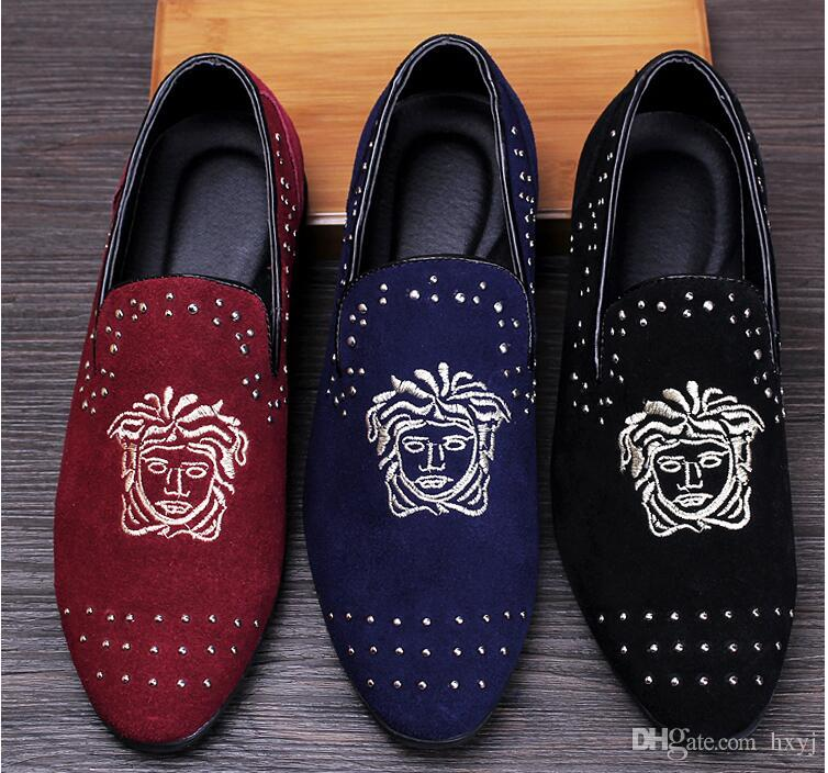 f3f81f65b0 Promotion spring Men Velvet Loafers Party wedding Shoes Europe Style  Embroidered black blue Velvet Slippers Driving moccasins 38-43