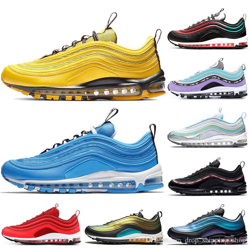 Acheter Nike Air Max 97 Airmax 97 Shoes Gym Rouge TN Plus Hommes Femmes Chaussures De Course Triple Noir Jaune En Plein Air Formation Sport Hommes