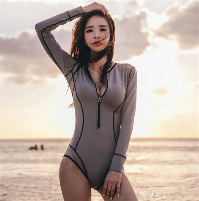 a99b165c4b 2019 Hot One Piece Vintage Swimwear Long Sleeve Bathing Suit Rush Guard Bikini  Women Sexy Swimsuit Snorkeling Wear Suit Korean Style From Sport_good, ...