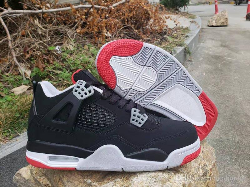 240322683fb53a 2019 New 4 Bred Black Cement Men Women Basketball Shoes Sports Sneakers 4s  Summit White Fire Red Trainers Good Quality 308497 060 Size 5.5 13 From ...