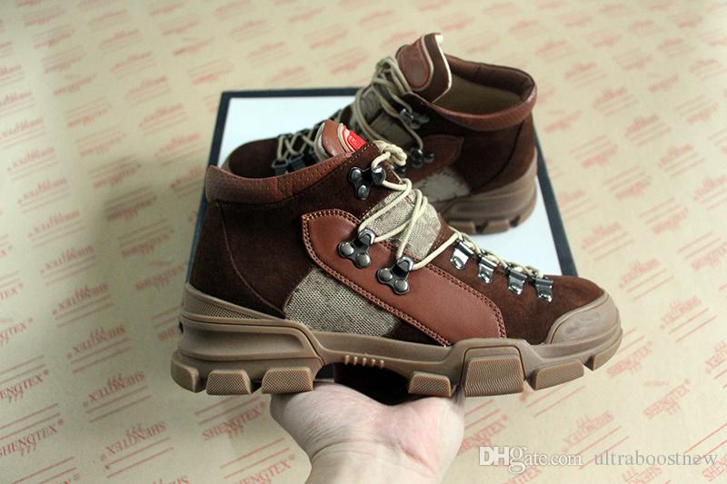 Top quality luxury Flashtrek high top sneaker top quality real leather oversize hiking boots man and women designer shoes boots 35 45