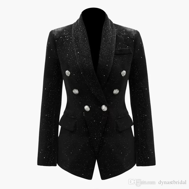 2019 Summer Fall Long Sleeve Shawl Notched-Lapel Black Glitter Double Breasted Blazers Coat Luxury Runway Coats MAY2214OLD Size S-XXL