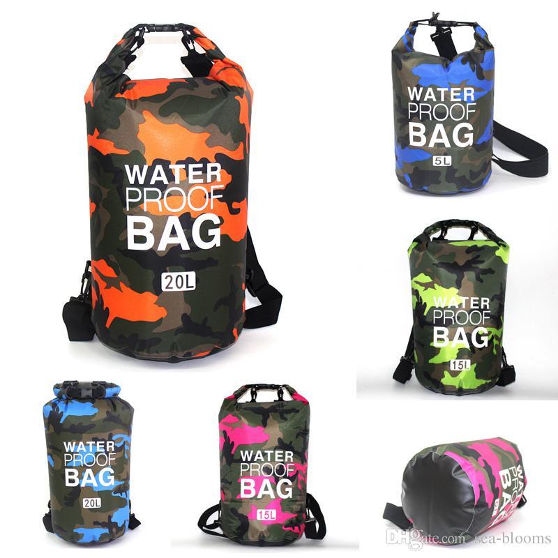 Seesäcke 1x Seesack Wasserdichte Packsack für Outdoor Angeln 15L Camouflage